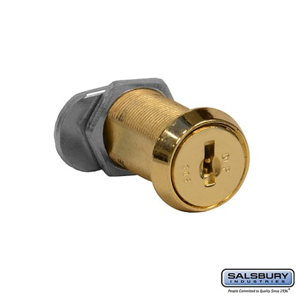 Replacement Lock - Gold Finish Cylinder - for Solid Oak Executive Wood Locker Door - with (2) keys
