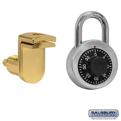Combination Padlock - with Gold Finish Hasp - for Solid Oak Executive Wood Locker Door