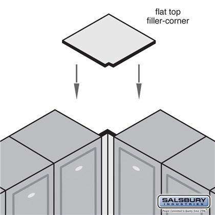 Flat Top Filler - Corner - 16 Inches Wide - 18 Inch Deep Solid Oak Executive Wood Locker - Medium
