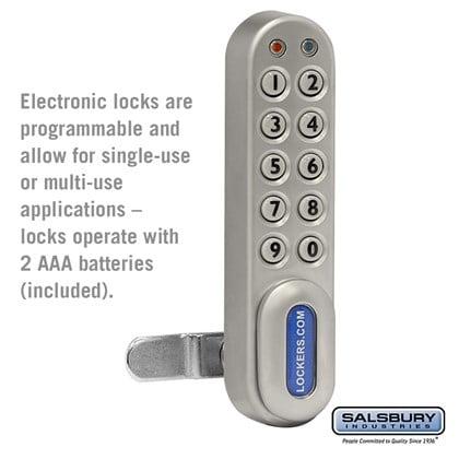 Electronic Lock - for Solid Oak Executive Wood Locker Door - Silver