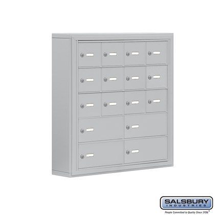 Cell Phone Storage Locker - 5 Door High Unit (5 Inch Deep Compartments) - 12 A Doors and 4 B Doors- Surface Mounted - Master Keyed Locks