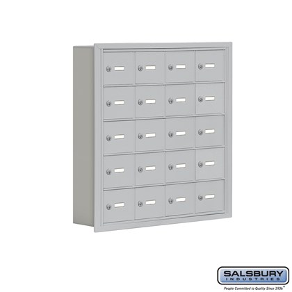 Cell Phone Storage Locker - 5 Door High Unit (5 Inch Deep Compartments) - 20 A Doors- Recessed Mounted - Master Keyed Locks