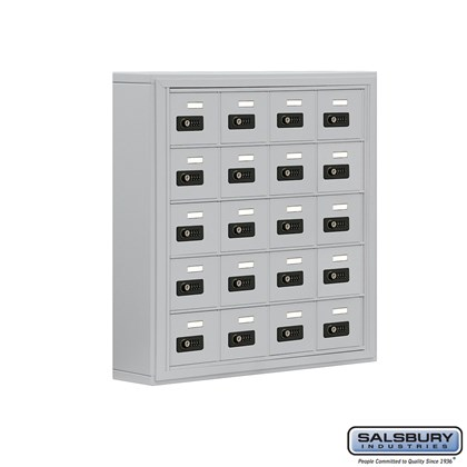 Cell Phone Storage Locker - 5 Door High Unit (5 Inch Deep Compartments) - 20 A Doors- Surface Mounted - Resettable Combination Locks