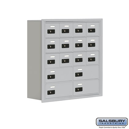 Cell Phone Storage Locker - 5 Door High Unit (8 Inch Deep Compartments) - 12 A Doors and 4 B Doors- Recessed Mounted - Resettable Combination Locks