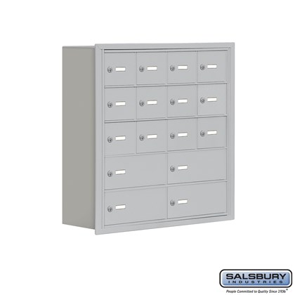 Cell Phone Storage Locker - 5 Door High Unit (8 Inch Deep Compartments) - 12 A Doors and 4 B Doors- Recessed Mounted - Master Keyed Locks