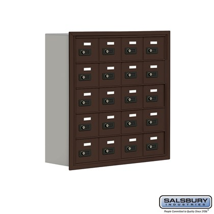 Cell Phone Storage Locker - 5 Door High Unit (8 Inch Deep Compartments) - 20 A Doors - Bronze - Recessed Mounted - Resettable Combination Locks