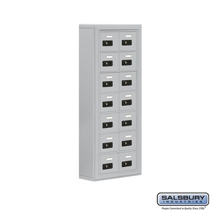 Cell Phone Storage Locker - 7 Door High Unit (5 Inch Deep Compartments) - 14 A Doors- Surface Mounted - Resettable Combination Locks