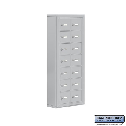 Cell Phone Storage Locker - 7 Door High Unit (5 Inch Deep Compartments) - 14 A Doors- Surface Mounted - Master Keyed Locks