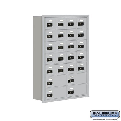 Cell Phone Storage Locker - 7 Door High Unit (5 Inch Deep Compartments) - 20 A Doors and 4 B Doors- Recessed Mounted - Resettable Combination Locks