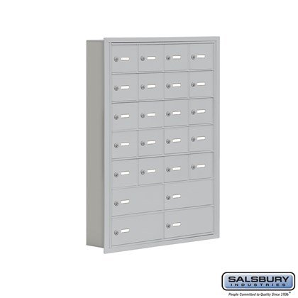 Cell Phone Storage Locker - 7 Door High Unit (5 Inch Deep Compartments) - 20 A Doors and 4 B Doors- Recessed Mounted - Master Keyed Locks