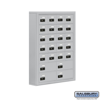 Cell Phone Storage Locker - 7 Door High Unit (5 Inch Deep Compartments) - 20 A Doors and 4 B Doors- Surface Mounted - Resettable Combination Locks
