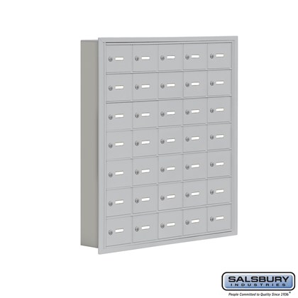 Cell Phone Storage Locker - 7 Door High Unit (5 Inch Deep Compartments) - 35 A Doors- Recessed Mounted - Master Keyed Locks