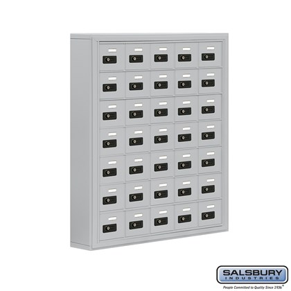 Cell Phone Storage Locker - 7 Door High Unit (5 Inch Deep Compartments) - 35 A Doors- Surface Mounted - Resettable Combination Locks
