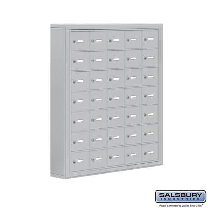 Cell Phone Storage Locker - 7 Door High Unit (5 Inch Deep Compartments) - 35 A Doors- Surface Mounted - Master Keyed Locks