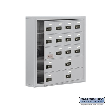 Cell Phone Storage Locker - with Front Access Panel - 5 Door High Unit (5 Inch Deep Compartments) - 12 A Doors (11 usable) and 4 B Doors - Surface Mounted - Resettable Combination Locks