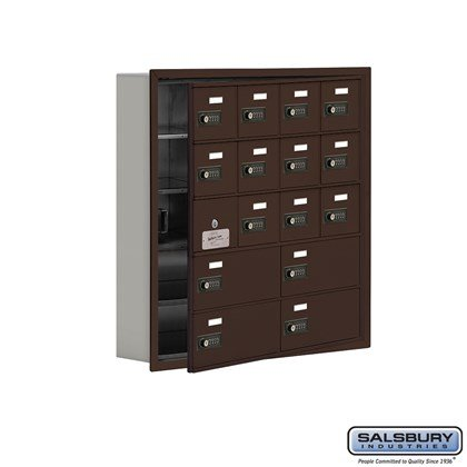 Custom Cell Phone Storage Locker - with Front Access Panel - 5 Door High Unit (5 Inch Deep Compartments) - 12 A Doors (11 usable) and 4 B Doors - Bronze - Recessed Mounted - Resettable Combination Locks
