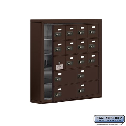 Cell Phone Storage Locker - with Front Access Panel - 5 Door High Unit (5 Inch Deep Compartments) - 12 A Doors (11 usable) and 4 B Doors - Bronze - Surface Mounted - Resettable Combination Locks