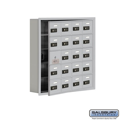 Cell Phone Storage Locker - with Front Access Panel - 5 Door High Unit (5 Inch Deep Compartments) - 20 A Doors (19 usable) - Recessed Mounted - Resettable Combination Locks