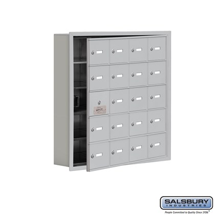 Cell Phone Storage Locker - with Front Access Panel - 5 Door High Unit (5 Inch Deep Compartments) - 20 A Doors (19 usable) - Recessed Mounted - Master Keyed Locks
