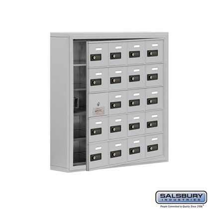 Cell Phone Storage Locker - with Front Access Panel - 5 Door High Unit (5 Inch Deep Compartments) - 20 A Doors (19 usable) - Surface Mounted - Resettable Combination Locks