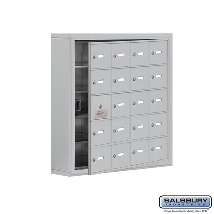 Cell Phone Storage Locker - with Front Access Panel - 5 Door High Unit (5 Inch Deep Compartments) - 20 A Doors (19 usable) - Surface Mounted - Master Keyed Locks