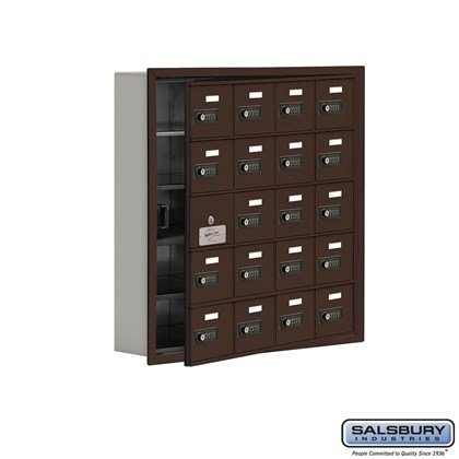 Custom Cell Phone Storage Locker - with Front Access Panel - 5 Door High Unit (5 Inch Deep Compartments) - 20 A Doors (19 usable) - Bronze - Recessed Mounted - Resettable Combination Locks