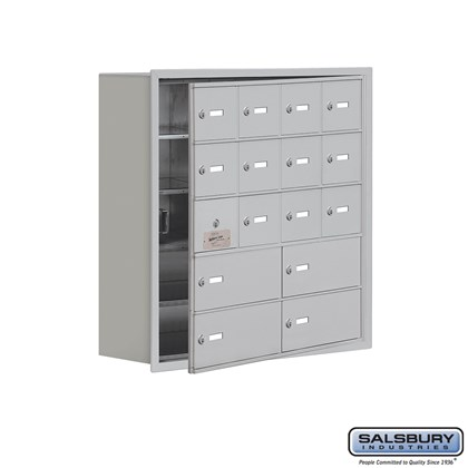 Cell Phone Storage Locker - with Front Access Panel - 5 Door High Unit (8 Inch Deep Compartments) - 12 A Doors (11 usable) and 4 B Doors - Recessed Mounted - Master Keyed Locks