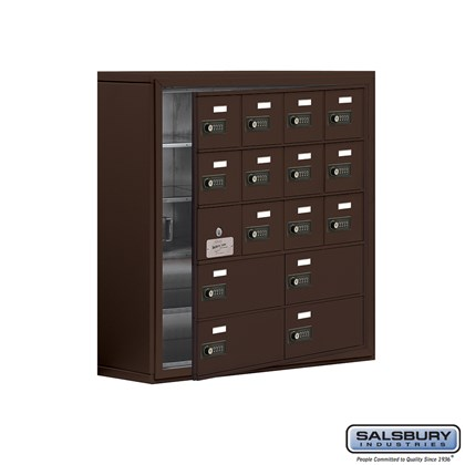Cell Phone Storage Locker - with Front Access Panel - 5 Door High Unit (8 Inch Deep Compartments) - 12 A Doors (11 usable) and 4 B Doors - Bronze - Surface Mounted - Resettable Combination Locks