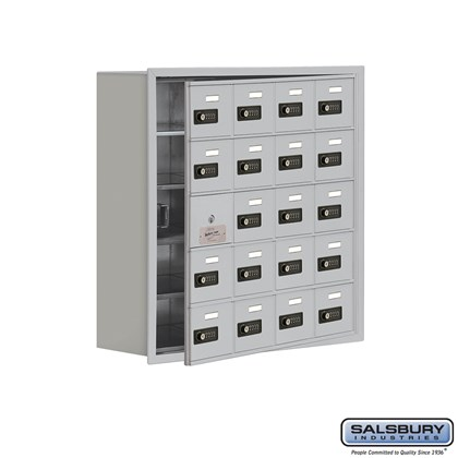 Cell Phone Storage Locker - with Front Access Panel - 5 Door High Unit (8 Inch Deep Compartments) - 20 A Doors (19 usable) - Recessed Mounted - Resettable Combination Locks