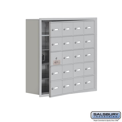 Cell Phone Storage Locker - with Front Access Panel - 5 Door High Unit (8 Inch Deep Compartments) - 20 A Doors (19 usable) - Recessed Mounted - Master Keyed Locks
