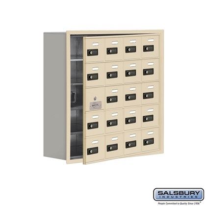 Cell Phone Storage Locker - with Front Access Panel - 5 Door High Unit (8 Inch Deep Compartments) - 20 A Doors (19 usable) - Sandstone - Recessed Mounted - Resettable Combination Locks