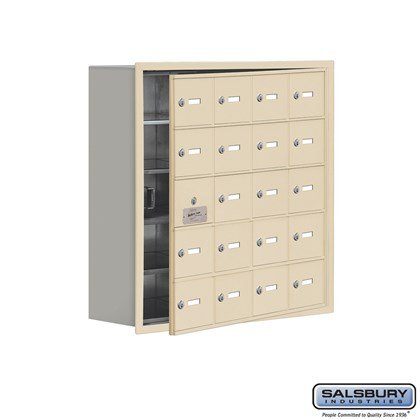 Cell Phone Storage Locker - with Front Access Panel - 5 Door High Unit (8 Inch Deep Compartments) - 20 A Doors (19 usable) - Sandstone - Recessed Mounted - Master Keyed Locks