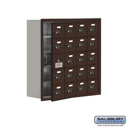 Cell Phone Storage Locker - with Front Access Panel - 5 Door High Unit (8 Inch Deep Compartments) - 20 A Doors (19 usable) - Bronze - Recessed Mounted - Resettable Combination Locks
