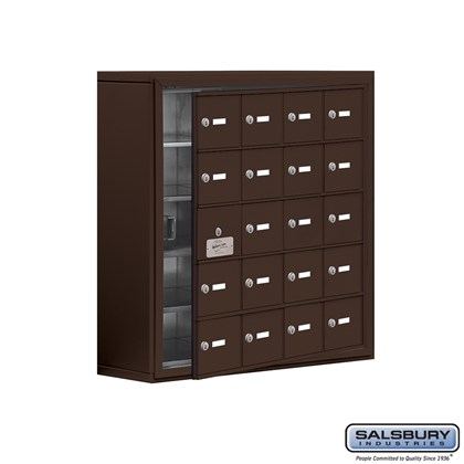 Cell Phone Storage Locker - with Front Access Panel - 5 Door High Unit (8 Inch Deep Compartments) - 20 A Doors (19 usable) - Bronze - Surface Mounted - Master Keyed Locks