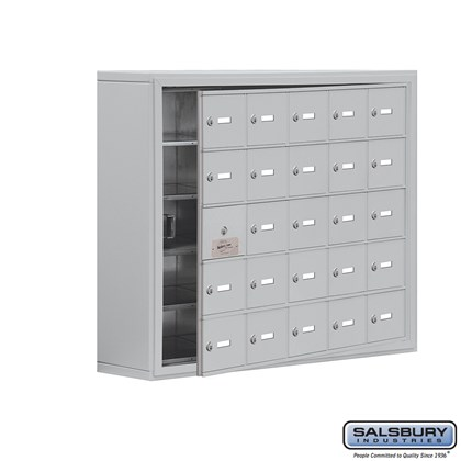 Cell Phone Storage Locker - with Front Access Panel - 5 Door High Unit (8 Inch Deep Compartments) - 25 A Doors (24 usable) - Surface Mounted - Master Keyed Locks