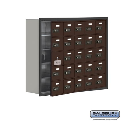 Cell Phone Storage Locker - with Front Access Panel - 5 Door High Unit (8 Inch Deep Compartments) - 25 A Doors (24 usable) - Bronze - Recessed Mounted - Resettable Combination Locks