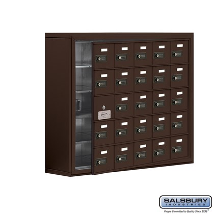 Cell Phone Storage Locker - with Front Access Panel - 5 Door High Unit (8 Inch Deep Compartments) - 25 A Doors (24 usable) - Bronze - Surface Mounted - Resettable Combination Locks