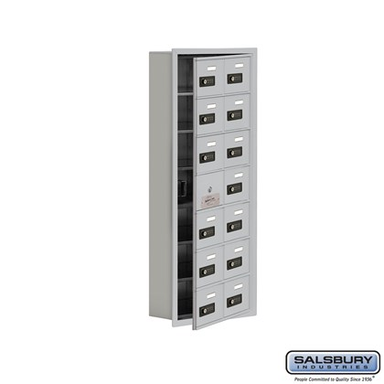 Cell Phone Storage Locker - with Front Access Panel - 7 Door High Unit (5 Inch Deep Compartments) - 14 A Doors (13 usable) - Recessed Mounted - Resettable Combination Locks