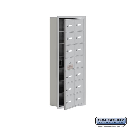 Cell Phone Storage Locker - with Front Access Panel - 7 Door High Unit (5 Inch Deep Compartments) - 14 A Doors (13 usable) - Recessed Mounted - Master Keyed Locks