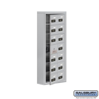 Cell Phone Storage Locker - with Front Access Panel - 7 Door High Unit (5 Inch Deep Compartments) - 14 A Doors (13 usable) - Surface Mounted - Resettable Combination Locks