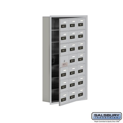 Cell Phone Storage Locker - with Front Access Panel - 7 Door High Unit (5 Inch Deep Compartments) - 21 A Doors (20 usable) - Recessed Mounted - Resettable Combination Locks