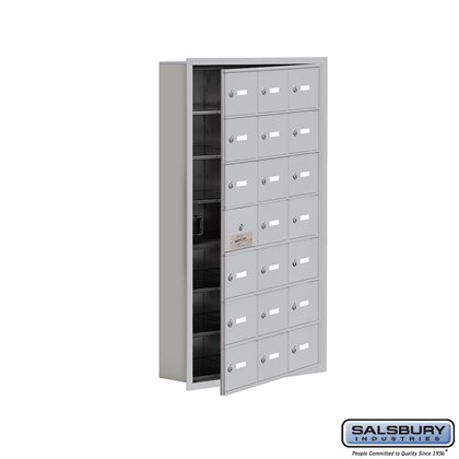 Cell Phone Storage Locker - with Front Access Panel - 7 Door High Unit (5 Inch Deep Compartments) - 21 A Doors (20 usable) - Recessed Mounted - Master Keyed Locks