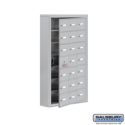 Cell Phone Storage Locker - with Front Access Panel - 7 Door High Unit (5 Inch Deep Compartments) - 21 A Doors (20 usable) - Surface Mounted - Master Keyed Locks