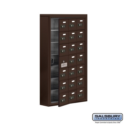Cell Phone Storage Locker - with Front Access Panel - 7 Door High Unit (5 Inch Deep Compartments) - 21 A Doors (20 usable) - Bronze - Surface Mounted - Resettable Combination Locks