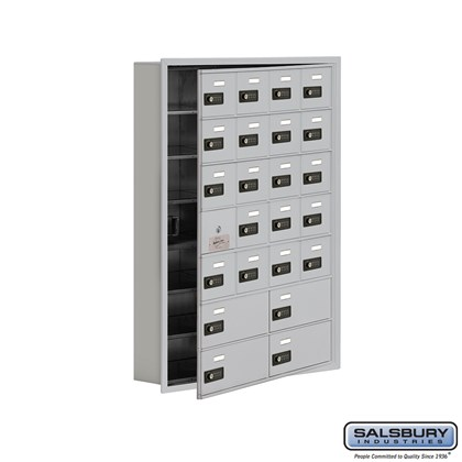 Cell Phone Storage Locker - with Front Access Panel - 7 Door High Unit (5 Inch Deep Compartments) - 20 A Doors (19 usable) and 4 B Doors - Recessed Mounted - Resettable Combination Locks