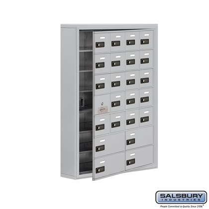 Custom Cell Phone Storage Locker - with Front Access Panel - 7 Door High Unit (5 Inch Deep Compartments) - 20 A Doors (19 usable) and 4 B Doors - Surface Mounted - Resettable Combination Locks