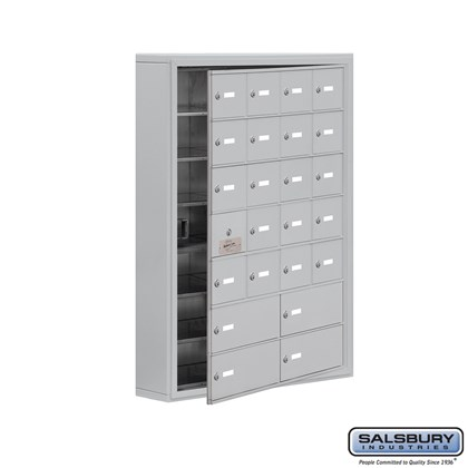 Cell Phone Storage Locker - with Front Access Panel - 7 Door High Unit (5 Inch Deep Compartments) - 20 A Doors (19 usable) and 4 B Doors - Surface Mounted - Master Keyed Locks