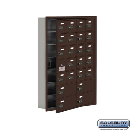 Custom Cell Phone Storage Locker - with Front Access Panel - 7 Door High Unit (5 Inch Deep Compartments) - 20 A Doors (19 usable) and 4 B Doors - Bronze - Recessed Mounted - Resettable Combination Locks