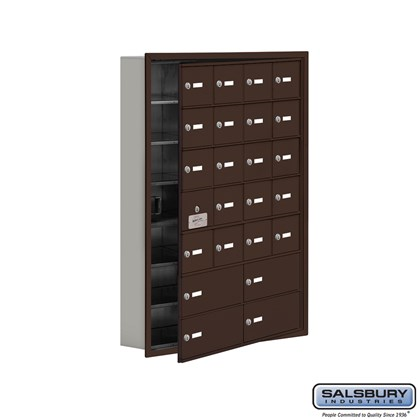 Custom Cell Phone Storage Locker - with Front Access Panel - 7 Door High Unit (5 Inch Deep Compartments) - 20 A Doors (19 usable) and 4 B Doors - Bronze - Recessed Mounted - Master Keyed Locks