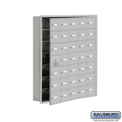 Cell Phone Storage Locker - with Front Access Panel - 7 Door High Unit (5 Inch Deep Compartments) - 35 A Doors (34 usable) - Recessed Mounted - Master Keyed Locks